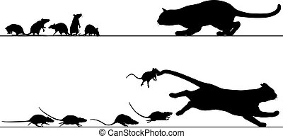 Rats chasing cat - Editable vector silhouettes of a cat...