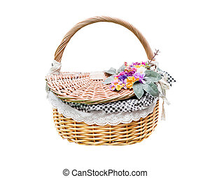 rattan flower basket isolated white