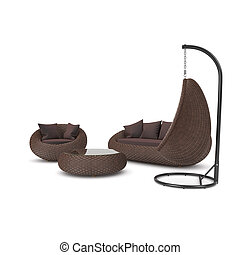 Rattan furniture on a white background. Set of rattan ...