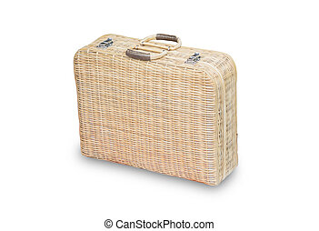 Rattan Hand bag isolated on White background