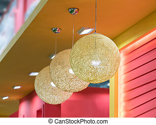 Rattan lamp hang in shop