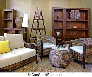 Rattan living room - Modern living room in brown colors with...