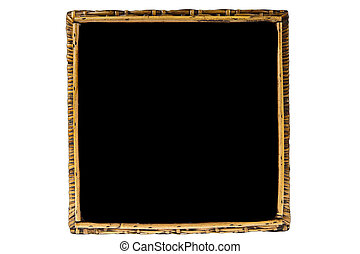 Rattan on black picture frame isolated on white background