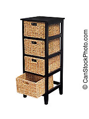 Rattan shelf - Retro wooden cabinet with rattan shelves ...