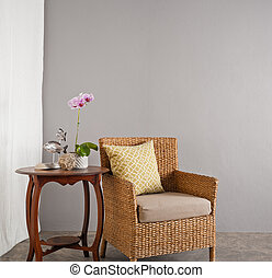 rattan, sofa, stoel, in, een, salon, vatting