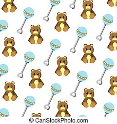 rattle and teddy bear toys background