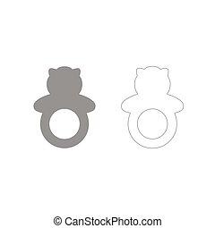 Rattle grey set icon .