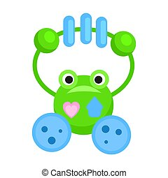 Rattle in Form of Funny Green Frog Illustration