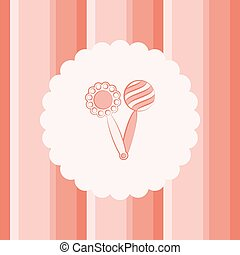 Rattle. - Rattle on a striped background. Vector...