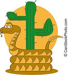 Rattle Snake Desert Cactus Clip Art - Rattle snake desert...