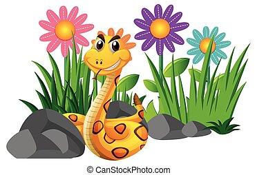 Rattle snake in flower garden illustration