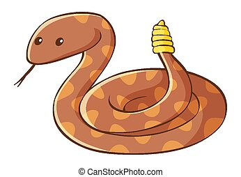 Rattle snake on white background illustration