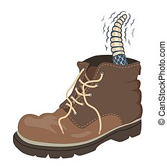 Rattler boot - Editable vector illustration of a rattlesnake...