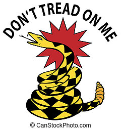 Rattlesnake - An image of a rattlesnake with political text...