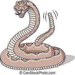 Rattlesnake - Illustration of cartoon rattlesnake isolated...