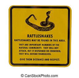 Rattlesnake sign - Rattlesnake warning sign