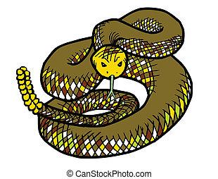 Rattlesnake - Coiled rattlesnake, ready to strike