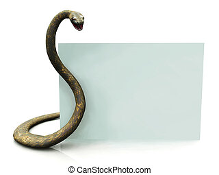 Rattlesnake with blank sign - A blank sign beside a...