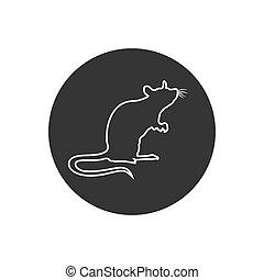 ratto, segno, linea, silhouette., icon., standing, vettore
