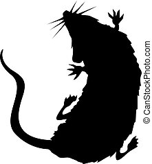ratto, silhouette, strisciare