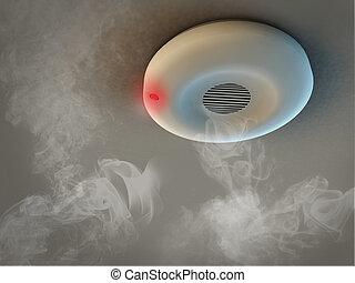 rauchmelder, auf, decke, detects, rauchwolken, und, geben,...