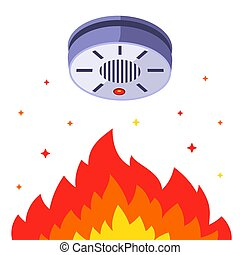 rauchwolken, gebäude, alarm., detektor, innen, gegen, fire.