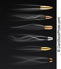 rauchwolken, satz, kugeln, feuerwaffe, schüsse, schießen, abgefeuert, bullets., freigestellt, spuren, verschieden, metall, vektor, kugel, realistisch, bewegung, fliegendes