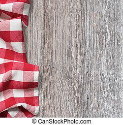 rauh, holz, küchentisch, mit, rotes , picknick, tuch, hintergrund