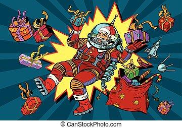raum, claus, schwerkraft, geschenke, null, santa,...