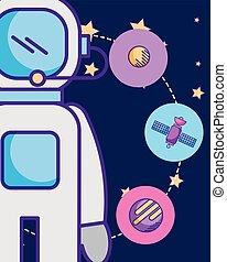 raum, galaxie, kosmisch, karte