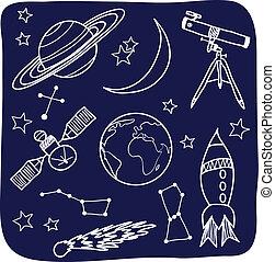 raum, himmelsgewölbe, -, gegenstände, nacht, astronomie