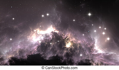 raum, hintergrund, mit, gas, nebelfleck, und, stars.,...