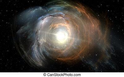 raum, hintergrund, mit, nebelfleck, und, stars., glühen,...