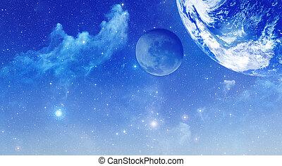 raum, hintergrund, mit, sternen, nebelflecke, und, planeten