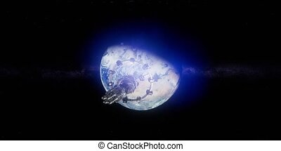 raum, iss, virtuell, international, grad, umkreisend, 360,...