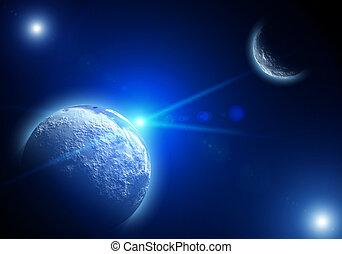 raum, landschaftsbild, mit, planeten, und, sternen