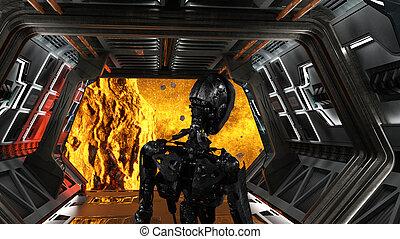 raum, roboter, tief, schauen, raumschiff, zukunftsidee