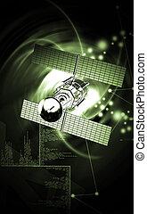 raum, satellit, tragen, schiffchen
