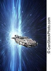 raumschiff, an, der, lichtgeschwindigkeit
