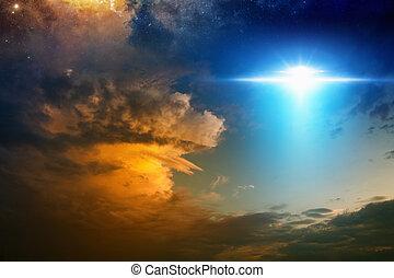 raumschiff, außerirdisch, sonnenuntergang, ausländer, himmelsgewölbe, rotes , glühen