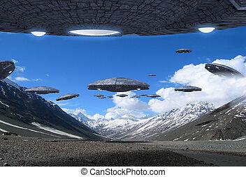 raumschiff, invasion, ufo