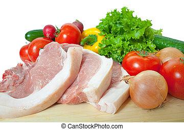 rauw vlees, en, groentes