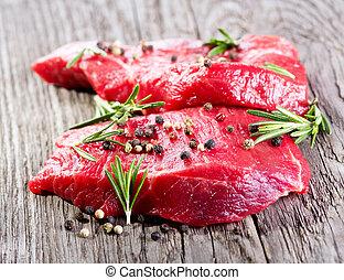 rauw vlees, met, rozemarijn