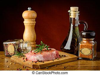 rauwe biefstuk, en, kruiden