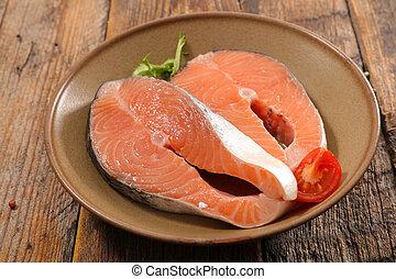 rauwe biefstuk, salmon