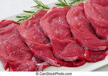 rauwe, fillets, rundvlees