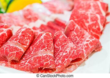 rauwe, fris, rundvlees