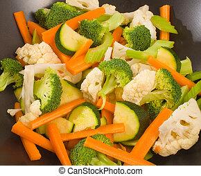 rauwe, gehakte, groentes