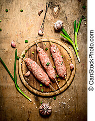 rauwe, knoflook, rundvlees, shoarma, onions.