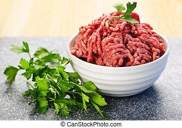 rauwe, kom, vlees, grond